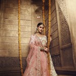 Cream Georgette Embroidered Latest Lehenga Designs For Wedding
