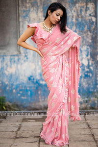 Pink Georgette Ruffle Border Fancy Sarees Online Shopping