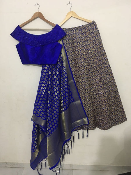 Stylish Blue Pattern Print Designs Of Ghagra Choli
