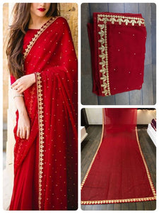 Red Saree in Georgette and Silk blouse Party wear sarees Online