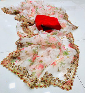 White Organza Silk Floral Print Latest New Saree Design
