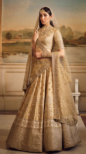 Gold Color Art Silk Lengha Design For Marriage