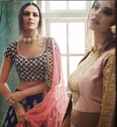 Embroidered Blue Velvet Party Wear Online Shopping For Lehenga Choli In India