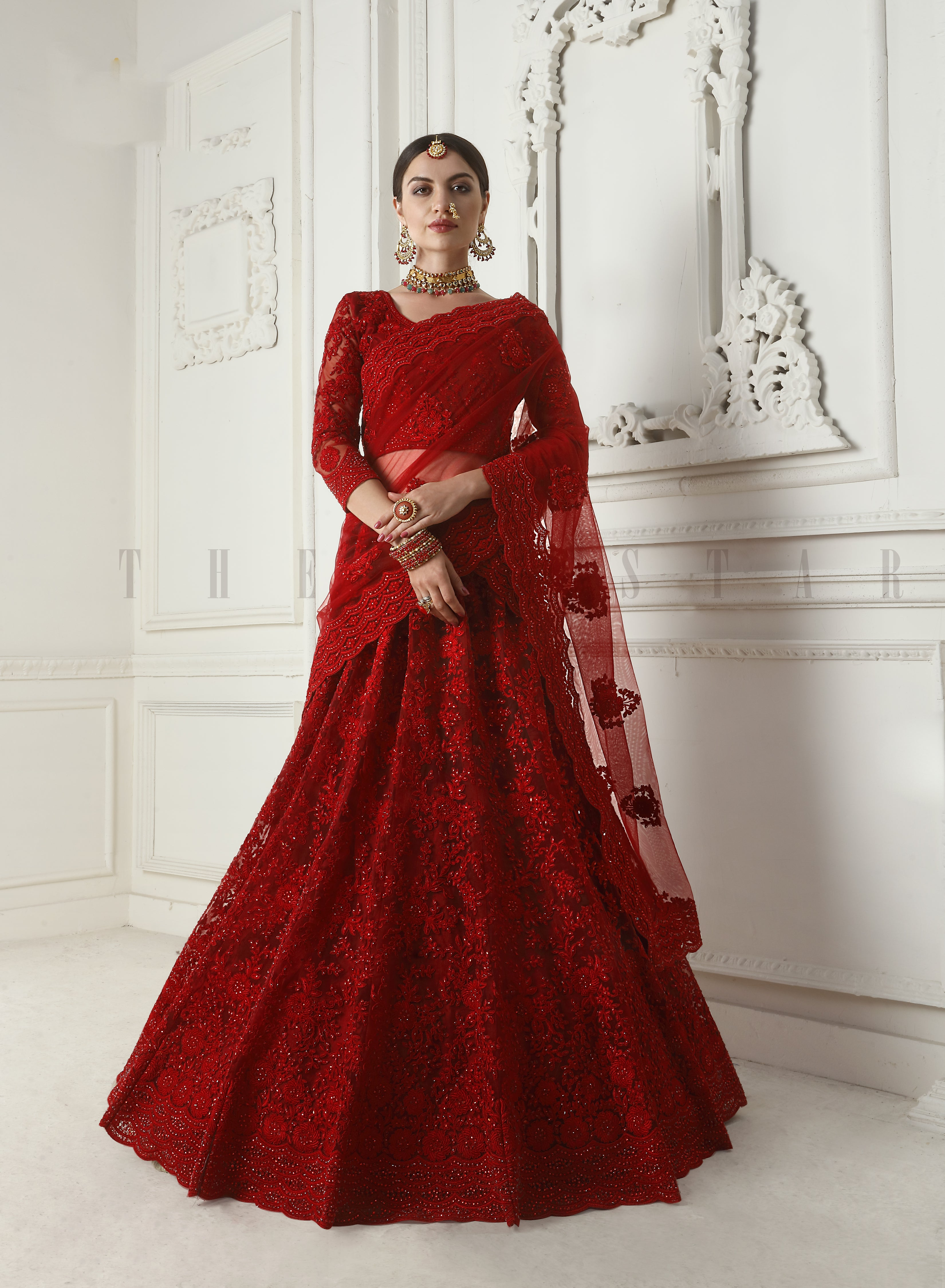 Stunning Red Net Embroidered Best Lehenga For Wedding Outfit