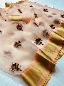 Light Peach Organza Party Wear Latest Saree Fashion