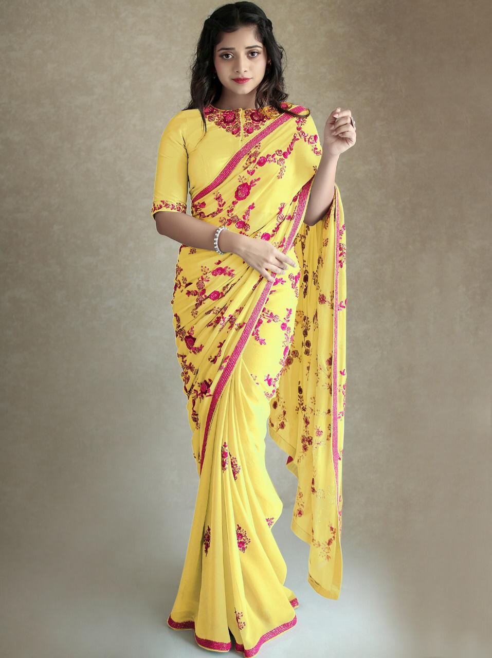 Yellow Georgette Embroidered Modern Saree Designs Online