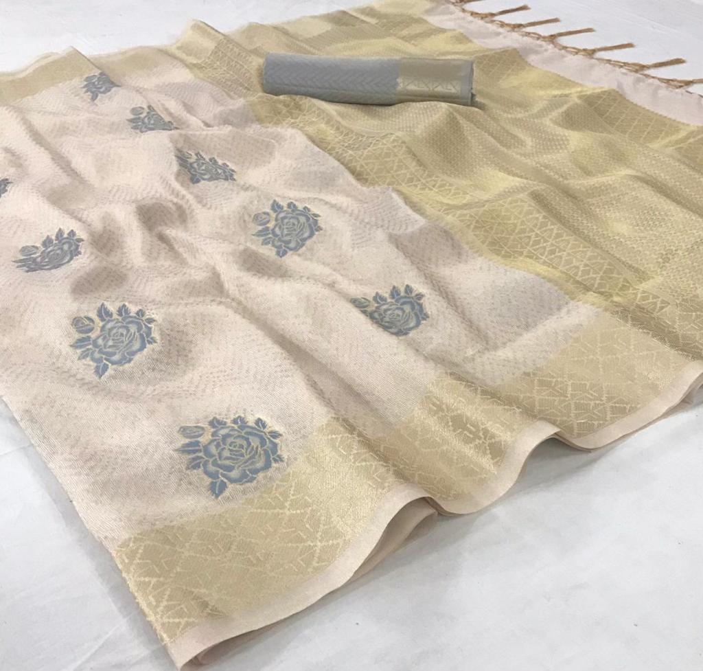 Light Beige Shimmering Handloom Silk Indian Sarees Online With Price