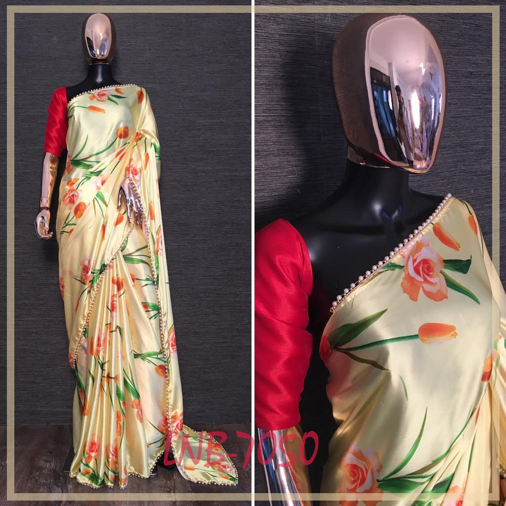Light Yellow Floral Print Pearl Lace Saree Design Online Shopping