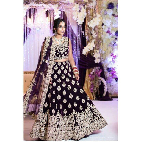 Wine Color Velvet  Embroidered Party Wear Ladies Lehenga Choli Online