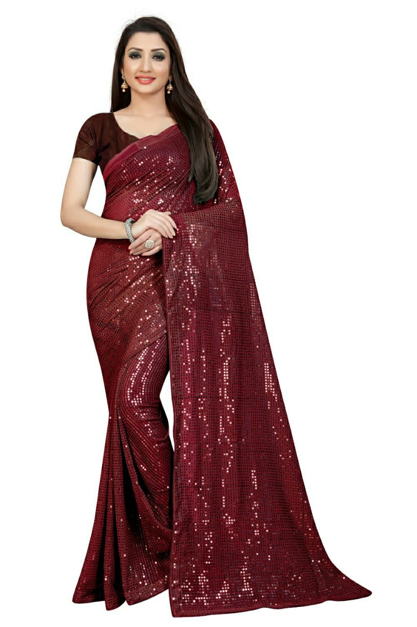 Maroon Georgette Sequins Online Shopping For Womens Sarees