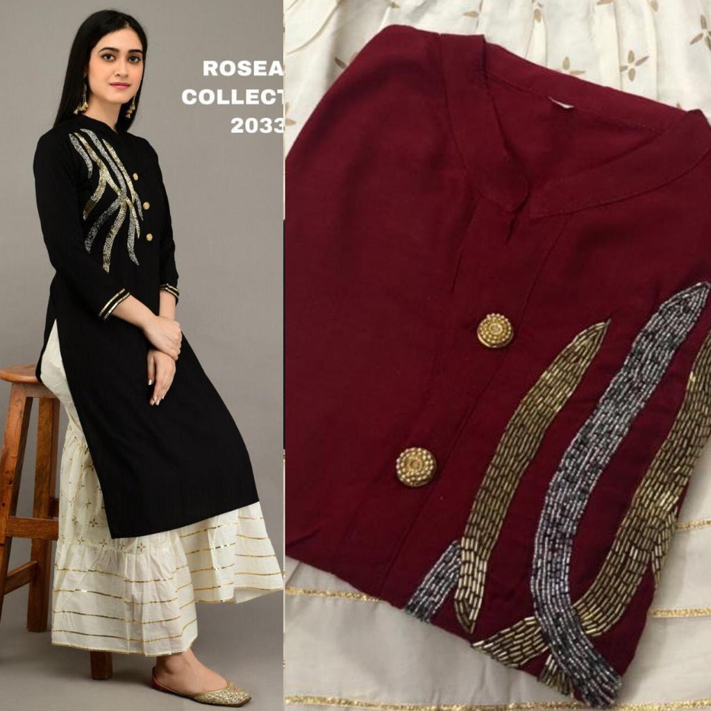 Maroon Embroidered Kurtis Sharara Ladies Salwar Kameez Online