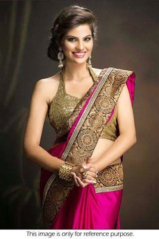 Georgette Pink Party Saree with Golden Shimmer Blouse ,Indian Dresses - 1