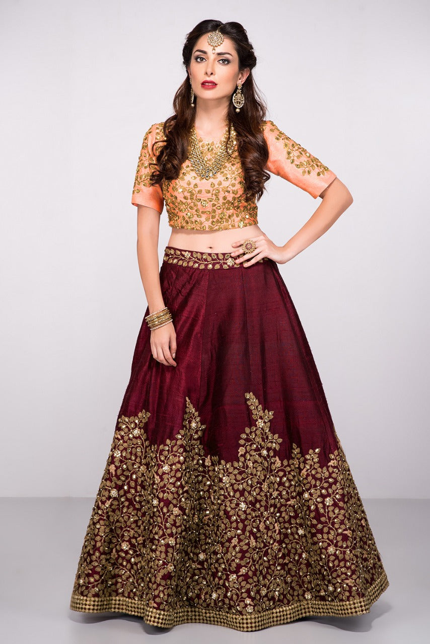 Maroon Pure Silk Embroidered New Wedding Dresses Lehenga Choli
