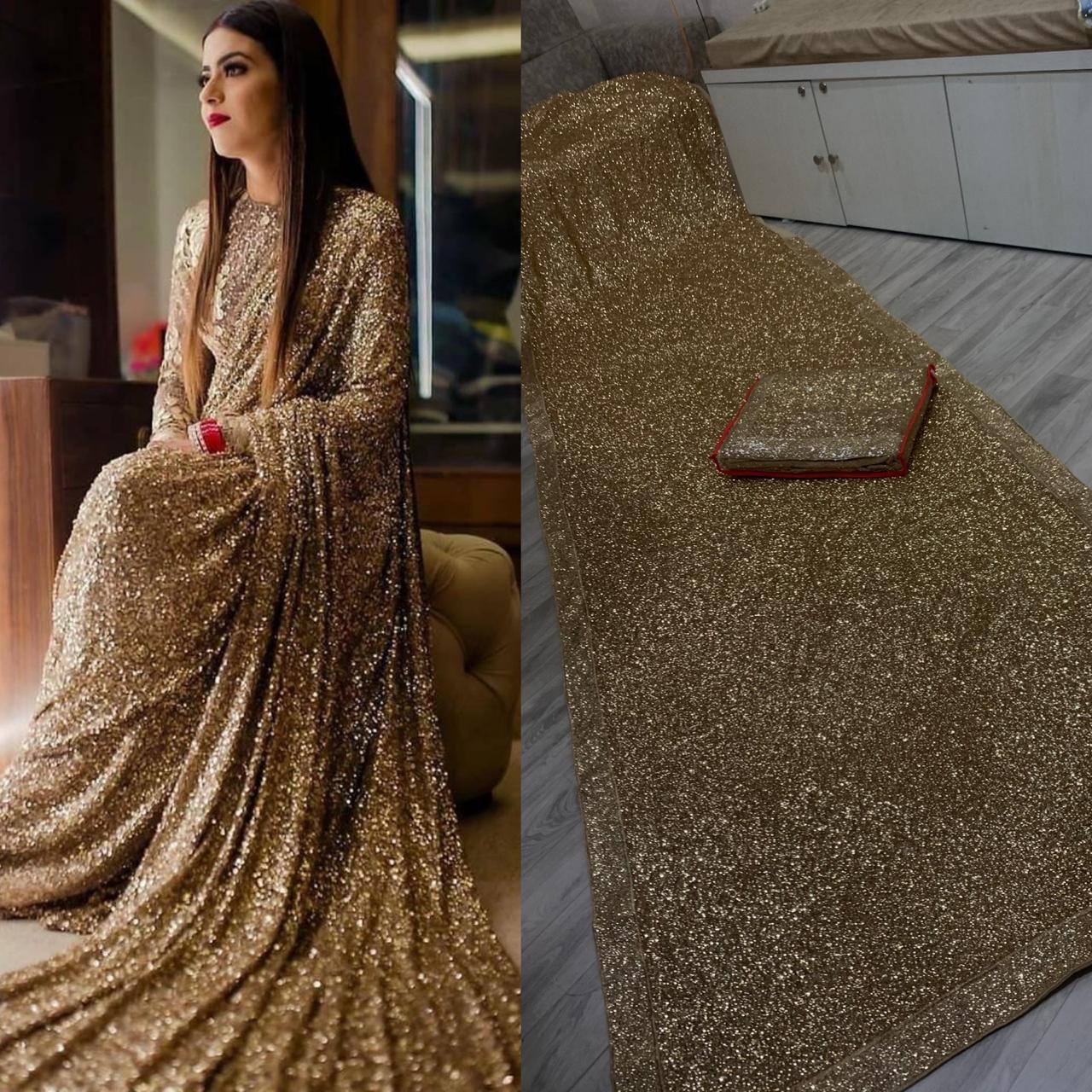 Gold Color Sequins Latest Indian Saree in Georgette with Sequins Blouse