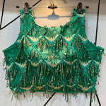 Green Sleeveless Blouse with Sequins Chex Designs