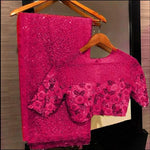 Magenta Georgette Sequins Beautiful Sarees Online Shopping