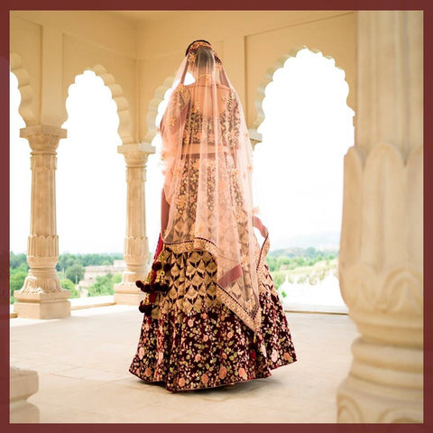 Maroon Indian Wedding Lehengas For Bride's Sister