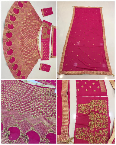 Raspberry Pink Embroidery Georgette Party Ghagra Dress Online Shopping