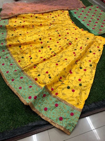 Yellow Banglori Silk Embroidered Beautiful Ghagra Choli Online Shopping