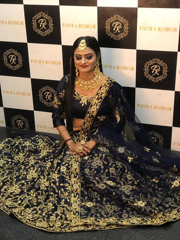 Embroidered Navy Blue Satin Latest Designer Lehengas For Wedding