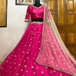 Pink Net Butti Work Party Lehenga Choli Online Buy
