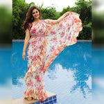 Off White Floral Georgette Ruffle Border Ladies Sarees Online
