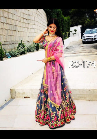 Grey Net Embroidered Latest Fashion Lehenga Choli With Dupatta