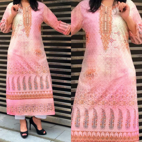 Light Pink Cotton Kurtis Palazzo Suit For Women