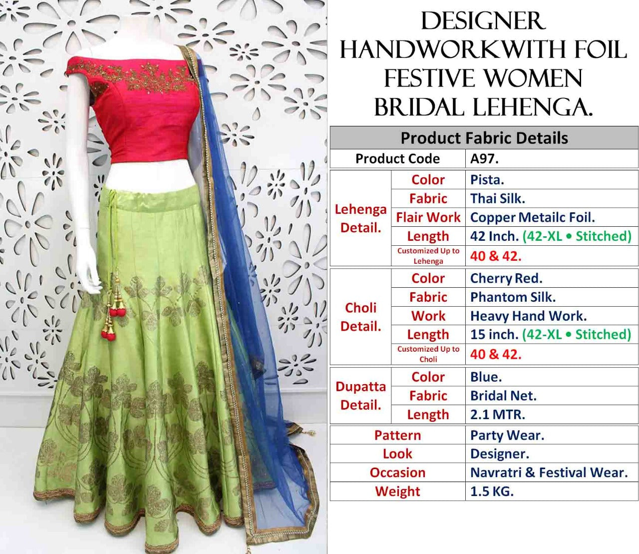 Pistachio Green Thai Silk Festive Wear Lehenga Choli Online