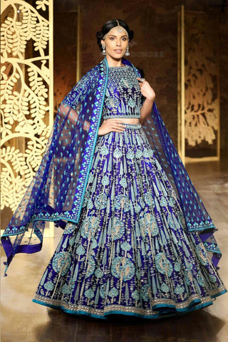 Stunning Royal Blue  Silk Wedding Dresses Best Ghagra Choli Designs