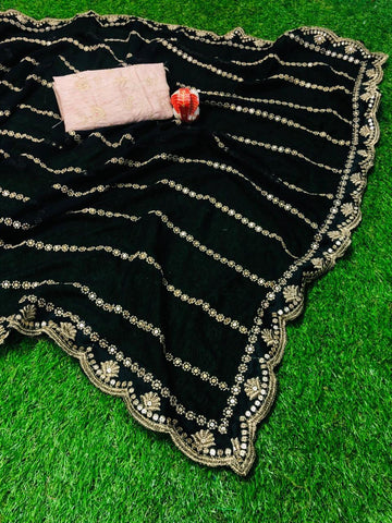 Black Georgette Latest Designs Party Wear Sarees Online
