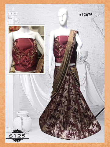Wine Color Silk Bollywood Indian Lehnga Dress Online Shopping