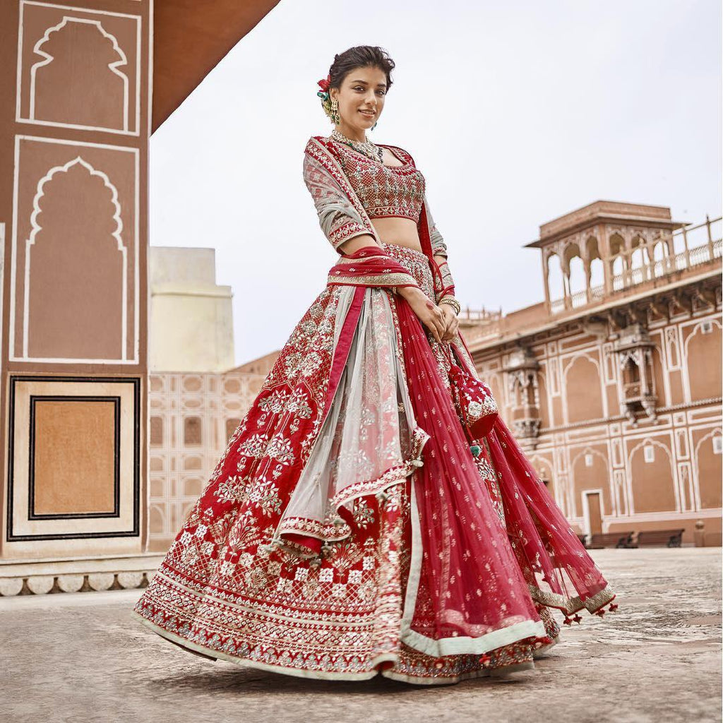Maroon  Embroidered Silk Latest Indian Wedding Wear Lehenga Blouse