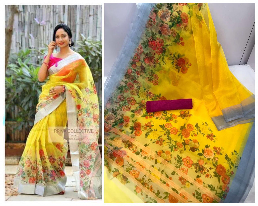 Yellow Floral Digital Printed Latest Organza Saree and Blouse Set