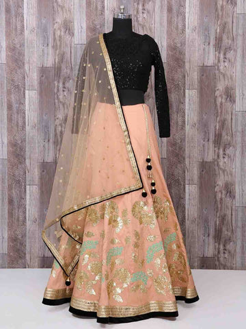 Salmon Peach Silk New Indian Dress Lehenga Choli Style