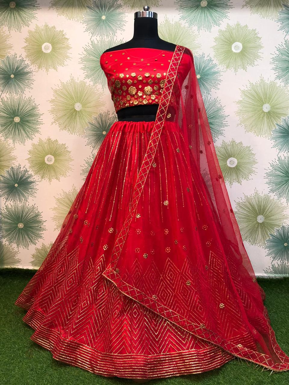 Red Net Embroidered Latest Lehenga Choli For Women