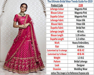 Magenta Silk Embroidered Latest Lengha Choli Fashion Dress