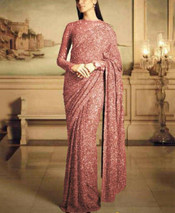 Peach Georgette Sequins Fancy Ladies Sarees Buy Online