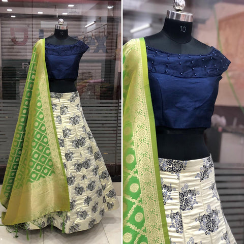 Elegant White Banarasi Brocade Silk Lehenga with Blue Crop Top Blouse