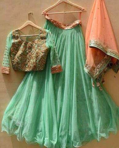 Mint Green And Peach Bollywood Lehengas Online Shopping India