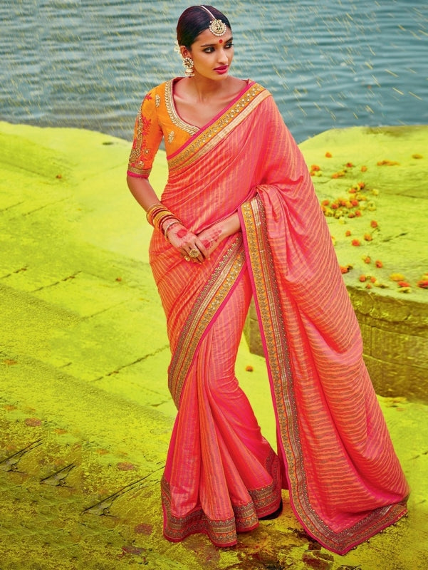 Peach Orange Two Tone Women Indian Sarees