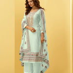 Jade Green And Beige Latest Half Saree Designs With Price