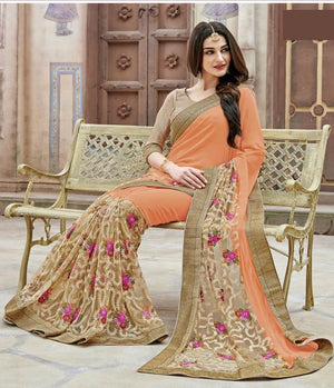 Peach Beige Designer Sarees With Indian Price