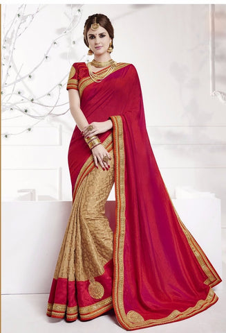 Reddish Pink And Beige Fancy Silk Sarees Online Shopping
