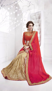 Beige And Orange Pink Tone Sarees Online With Price