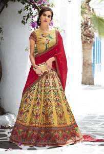 Mustard Ombre Digital Printed Lehenga Choli  For Wedding