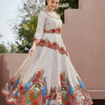 Light Beige Silk Digital Print New Choli Design For Lehenga