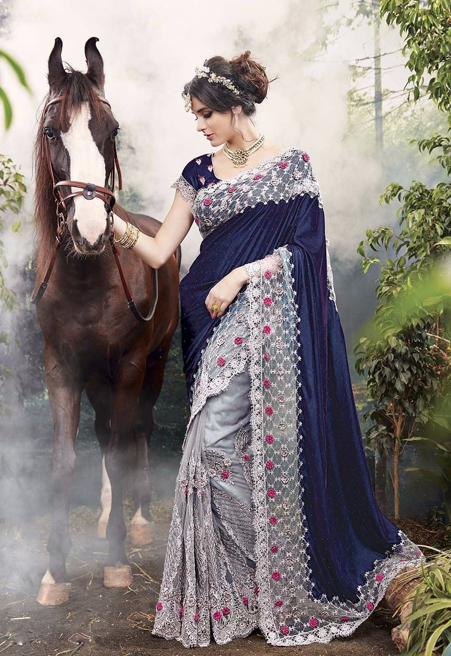 Beautiful Navy Blue And Gray Latest Designer Sarees With Price In India