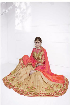 Two Tone Orange Pink and Beige Fancy Silk Sarees Online