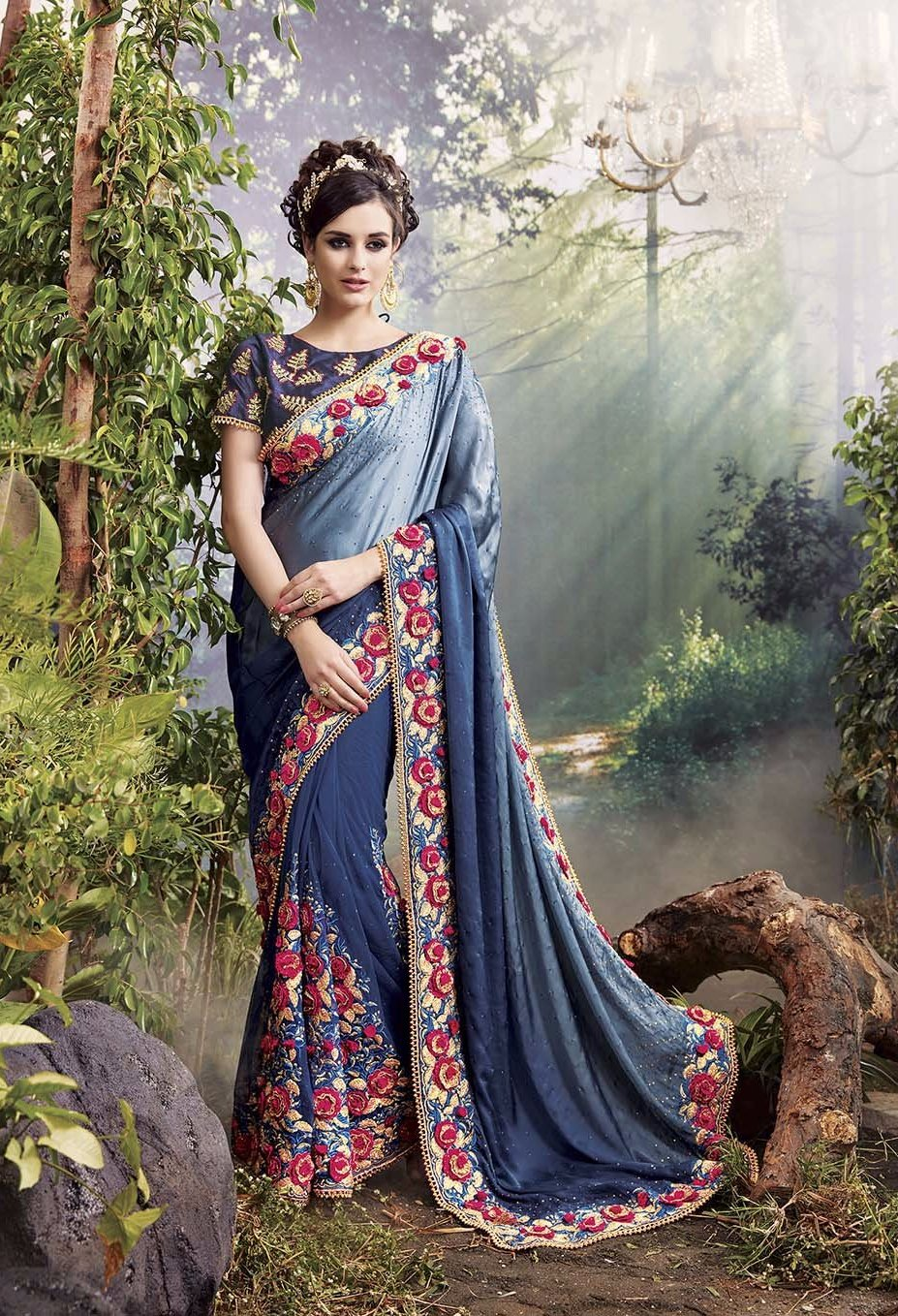 Buy Designer Party Wear Sarees Online In Beautiful Blue Shade